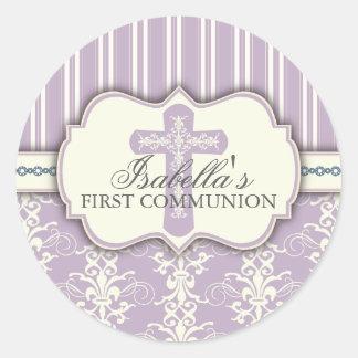 ヴィンテージのダマスク織の最初聖餐のステッカー|の紫色 ラウンドシール