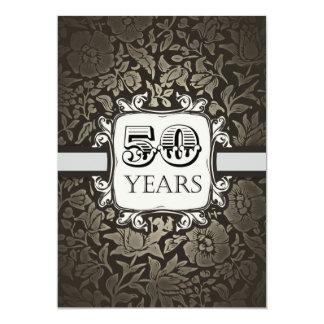 ヴィンテージのダマスク織の第50バースデーパーティ招待状 カード
