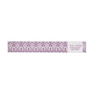 ヴィンテージのダマスク織の紫色の白い差出人住所 ラップアラウンドラベル