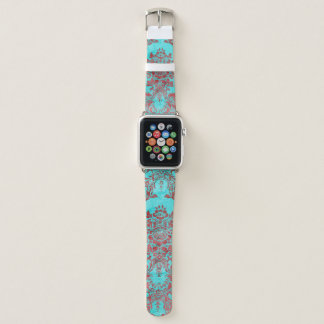 ヴィンテージのダマスク織の赤く青いAppleの時計バンド42MM Apple Watchバンド