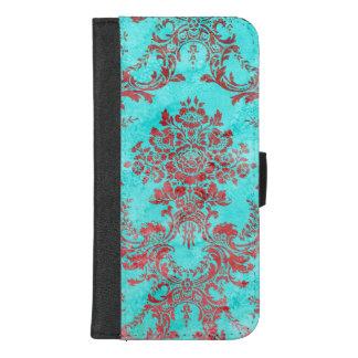 ヴィンテージのダマスク織の赤く青いiphoneの箱7/8 iPhone 8/7 plus ウォレットケース