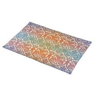 ヴィンテージのダマスク織の輪郭の壁紙-青いすみれ色の赤 ランチョンマット