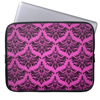 ヴィンテージのダマスク織の黒のいくじなしの女の子のピンクのガーリーなラップトップ ラップトップスリーブ