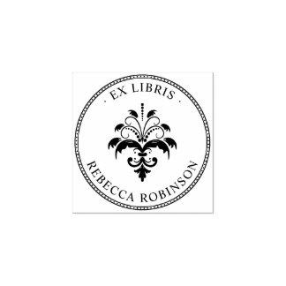 ヴィンテージのダマスク織及びタイポグラフィ|カスタムな前のLibris ラバースタンプ