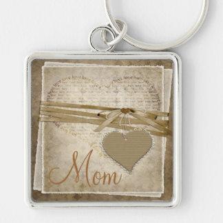 ヴィンテージのダマスク織愛紙及びハートのお母さんのキーホルダー キーホルダー
