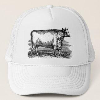 ヴィンテージのダラム牛Bullの名前入りなイラストレーション キャップ