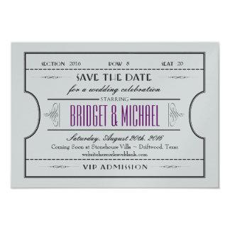 ヴィンテージのチケットの保存日付の結婚式 8.9 X 12.7 インビテーションカード