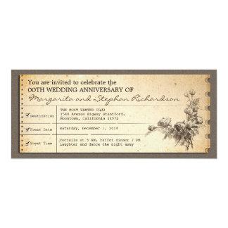 ヴィンテージのチケット印刷記念日の招待状 10.2 X 23.5 インビテーションカード