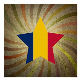 ヴィンテージのチャドの旗の渦巻 ポスター