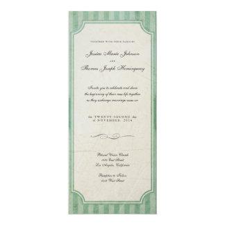 ヴィンテージのチャームの緑のモノグラムの結婚式招待状 10.2 X 23.5 インビテーションカード