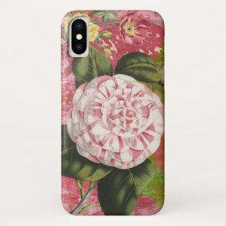 ヴィンテージのツバキのコラージュのエレガントなピンク iPhone X ケース