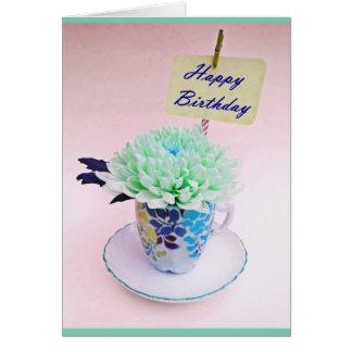 ヴィンテージのティーカップの花のお茶会のバースデー・カード カード