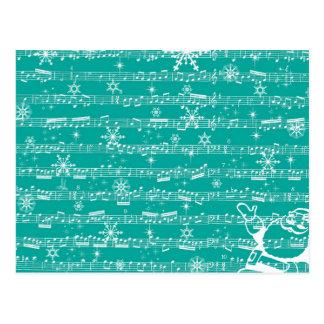 ヴィンテージのティール(緑がかった色)のクリスマスのミュージカルシート ポストカード