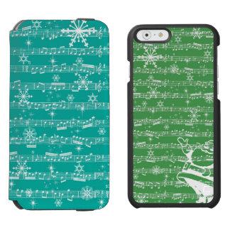 ヴィンテージのティール(緑がかった色)のクリスマスのミュージカルシート INCIPIO WATSON™ iPhone 6 財布ケース
