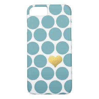ヴィンテージのティール(緑がかった色)の水玉模様の金ゴールドホイルのハートのiPhone iPhone 8/7ケース