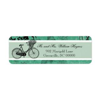 ヴィンテージのティール(緑がかった色)の自転車のパーソナライズされたな住所シール ラベル