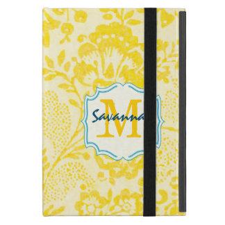 ヴィンテージのティール(緑がかった色)の花の黄色いモノグラムの鳥iPad Mini iPad Mini ケース