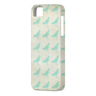 ヴィンテージのティール(緑がかった色)の鳥パターン iPhone SE/5/5s ケース