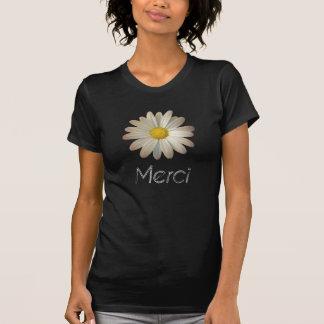ヴィンテージのデイジーのプリントおよびMerciのタイポグラフィのTシャツ Tシャツ