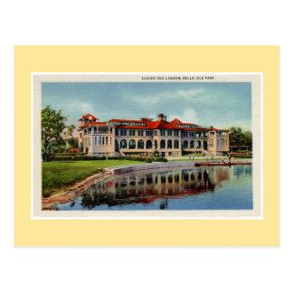 ヴィンテージのデトロイト美女の島のカジノの礁湖 ポストカード