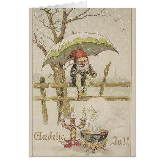 ヴィンテージのデンマーク語のGlaedelig 7月のクリスマスカード グリーティングカード