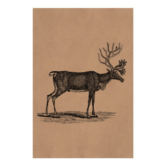 ヴィンテージのトナカイのイラストレーション- 1800'sクリスマス ポスター