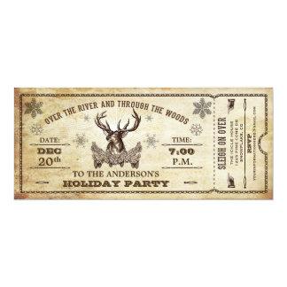 ヴィンテージのトナカイの休日のパーティのチケットの招待状 カード