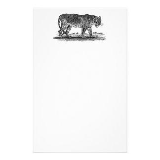 ヴィンテージのトラのイラストレーション-アフリカ1800'sトラ 便箋