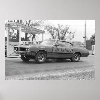 ヴィンテージのドラッグの競争- 1970年のOlds 442 Chesrown ポスター
