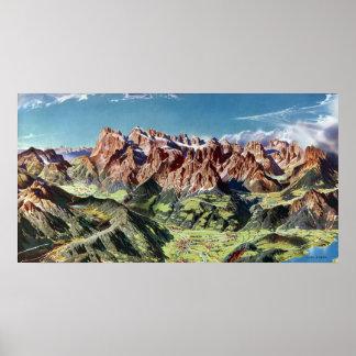ヴィンテージのドロマイトのイタリアの立体模型地図 ポスター