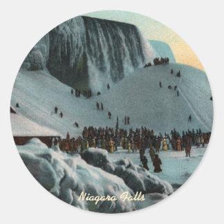 ヴィンテージのナイアガラ・フォールズの氷のステッカー ラウンドシール