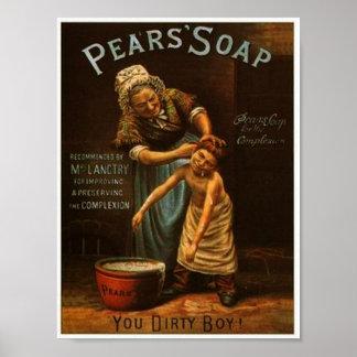 ヴィンテージのナシの石鹸ポスター ポスター