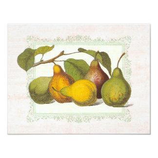 ヴィンテージのナシの秋の収穫のディナー・パーティ 10.8 X 14 インビテーションカード