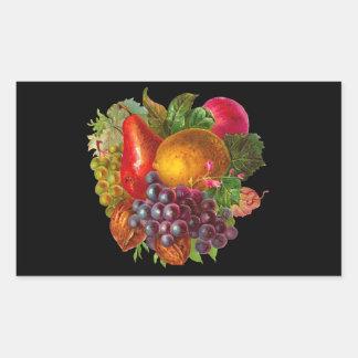 ヴィンテージのナシ、ブドウ、レモン、Appleおよびクルミ 長方形シール