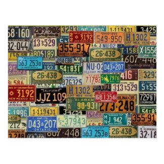 ヴィンテージのナンバープレート ポストカード