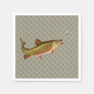 ヴィンテージのニジマスのはえの魚釣り スタンダードカクテルナプキン