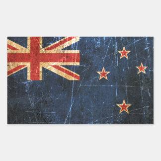 ヴィンテージのニュージーランドの傷付けられ、擦り切れたな旗 長方形シール