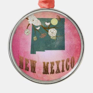 ヴィンテージのニューメキシコの州の地図キャンデーのピンク メタルオーナメント