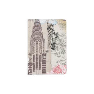 ヴィンテージのニューヨークのデザイン パスポートカバー