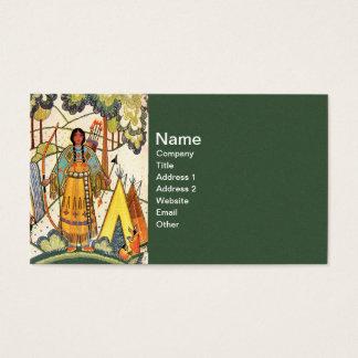 ヴィンテージのネイティブアメリカンの女性の村の森林 名刺