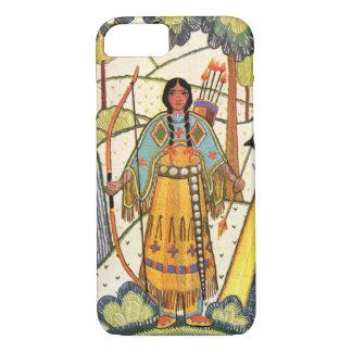 ヴィンテージのネイティブアメリカンの女性の村の森林 iPhone 8/7ケース