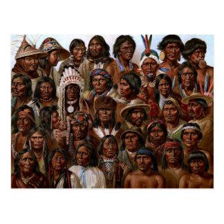 ヴィンテージのネイティブアメリカンの種族および人々の写真 ポストカード