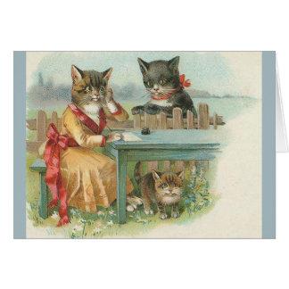 ヴィンテージのネコ科のメッセージカード カード
