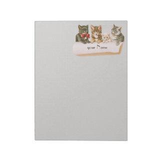ヴィンテージのネコ科11 x 8.5メモ帳 ノートパッド