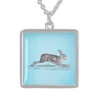 ヴィンテージのノウサギのバニーウサギのイラストレーション-ウサギ スターリングシルバーネックレス