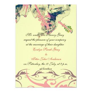ヴィンテージのハイビスカスの花のブロケードの結婚式招待状 14 X 19.1 インビテーションカード