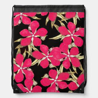 ヴィンテージのハイビスカスの花柄の花のバックパック ナップサック