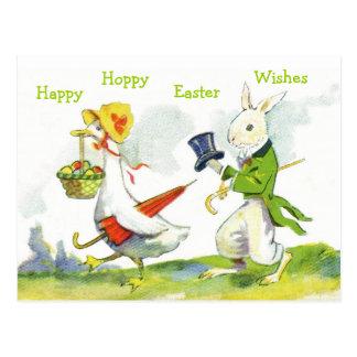ヴィンテージのハッピーイースターによって郵便はがき服を着せられるウサギ、アヒル ポストカード