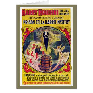 ヴィンテージのハリーHoudiniの刑務所の独房及びバレルのミステリー カード
