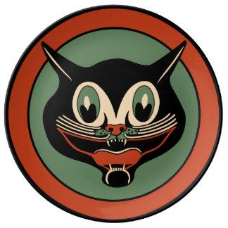 ヴィンテージのハロウィンのアールデコの黒猫 磁器プレート